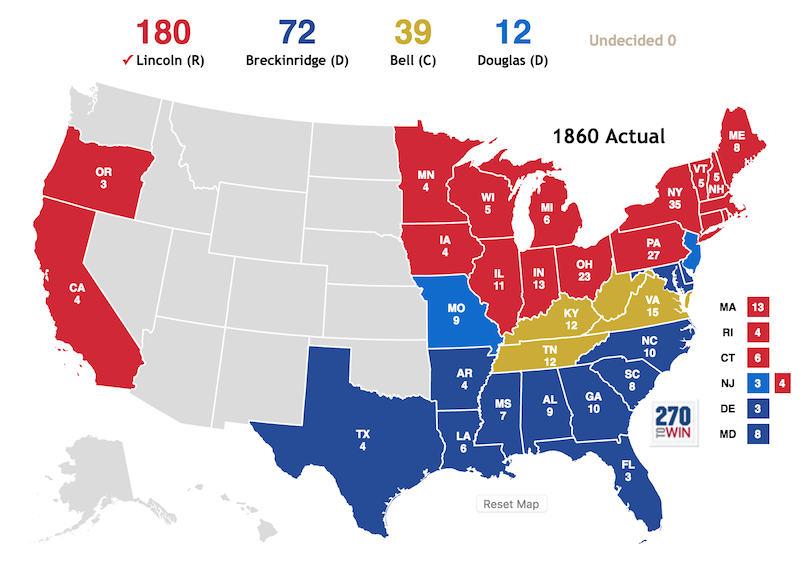 """Both Minnesota and Oregon become states during this election cycle which meant that the original 13 States controlled fewer than 50% of total Electoral Votes for first time. Lincoln received only about 39% of the popular vote in a divided nation on the brink of Civil War. The New Jersey Electors split their vote: 4 for Lincoln, 3 for Douglas; Douglas had won popular vote."" —270towin.com"
